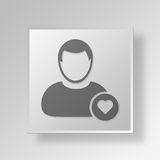 3D simbolo Gray Square Favorite User Button Immagine Stock