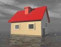 3d simple house with foundation under water. Royalty Free Stock Images