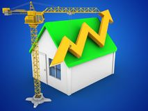 3d simple house. 3d illustration of simple house over blue background with arrow graph and crane Stock Photos