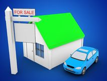 3d simple house. 3d illustration of simple house over blue background with car and sale sign Royalty Free Stock Photos