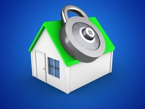 3d simple house. 3d illustration of simple house over blue background with code lock Stock Photography