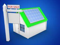 3d simple house. 3d illustration of simple house over blue background with solar panel and sale sign Stock Images