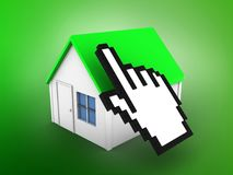 3d simple house. 3d illustration of simple house over green background with cursor Stock Photo