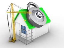 3d simple house. 3d illustration of simple house over white background with code lock and construction site Stock Photo