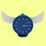 3d simply blue clock with wings Stock Photo