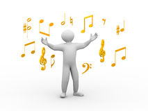 3d singing person with musical notes. 3d illustration of happy singing man with wide open hand standing between music note symbols. 3d human person character and Royalty Free Stock Photography