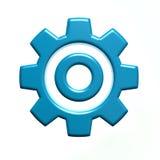 Blue Gear Logo Isolated on White Background Stock Image