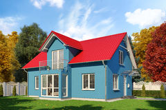 3d - single family house - autumn - day. 3d render - blue single-family dwelling in blossoming nature in autumn on the day Stock Photography