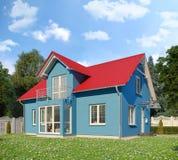 3d - single family house - summer - day Stock Photo