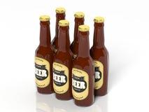 3D six collections de paquet de verre de bière illustration de vecteur