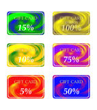 3D six gift cards differently-colored Stock Photo