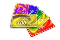3D six gift cards differently-colored folded Stock Image