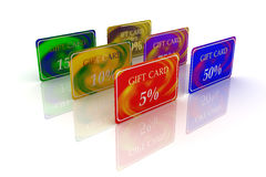 3D six gift cards differently-colored stand Royalty Free Stock Images