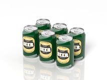 3D six pack collection of beer cans. On white Stock Images