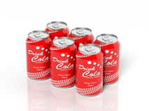 3D six pack collection of cola cans Stock Image