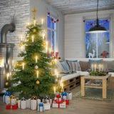 3d - Skandinavische vlakte - Kerstmis Stock Afbeeldingen