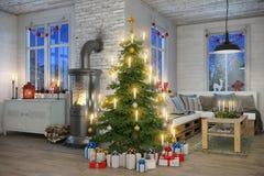 3d - Skandinavische vlakte - Kerstmis Royalty-vrije Stock Foto