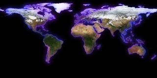 3d skapad jordillustrationbild mest framförande för nasa-delplanet Du kan se kontinenter, städer Beståndsdelar av denna avbildar  Royaltyfri Bild