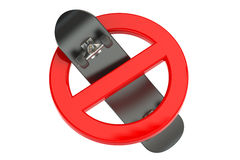 3D skateboard in prohibition sign Stock Photos