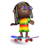 3d Skateboarding rasta Stock Image