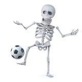 3d Skelet is een scherpe voetbalster Stock Fotografie