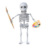 3d Skeleton aspires to being a great artist. 3d render of a skeleton holding a paint brush and palette Royalty Free Stock Image