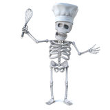 3d Skeleton chef with whisk. 3d render of a skeleton wearing a chefs hat and holding a whisk Royalty Free Stock Image