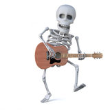 3d Skeleton dancing while playing an acoustic guitar Stock Photo