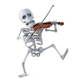 3d Skeleton dancing and playing a violin Royalty Free Stock Photos