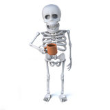 3d Skeleton drinking a nice cup of tea Royalty Free Stock Photography