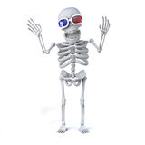 3d Skeleton enjoys a 3d movie. 3d render of a skeleton wearing 3d glasses Royalty Free Stock Photo