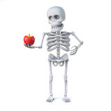 3d Skeleton has brought an apple for teacher. 3d render of a skeleton holding a juicy red apple Stock Photos