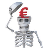 3d Skeleton has a Euro currency symbol inside his head. 3d render of a skeleton with a Euro currency symbol inside his head Stock Photos