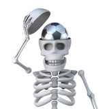 3d Skeleton has a football for a brain Stock Photography