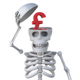 3d Skeleton has a UK Pounds Sterling currency symbol in his skull. 3d render of a skeleton revealing a UK Pounds Sterling currency symbol in his skull royalty free illustration