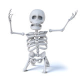 3d Skeleton on his knees in the pits of despair Stock Photos