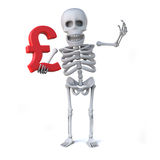 3d Skeleton holding a red Yen currency symbol. 3d render of a skeleton holding a Japanese Yen currency symbol Stock Image