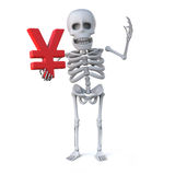 3d Skeleton holding a Yen currency symbol. 3d render of a skeleton holding a Yen currency symbol Royalty Free Stock Image