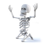 3d Skeleton kneeling with arms raised in appeal. 3d render of a skeleton kneeling on the ground with arms raised to the heavens Stock Photo