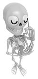 3D Skeleton Mascot is being immersed in thought for new ideas. 3 Stock Photo