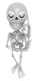3D Skeleton Mascot is being immersed in thought for new ideas. 3 Royalty Free Stock Images