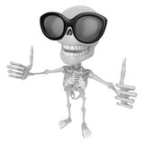 3D Skeleton Mascot the best hand gesture. 3D Skull Character Des Royalty Free Stock Photo
