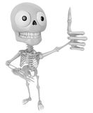 3D Skeleton Mascot the best hand gesture. 3D Skull Character Des Royalty Free Stock Photography