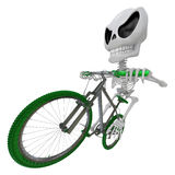 3D Skeleton Mascot is bikes do an acrobatic movement. 3D Skull C Stock Photos