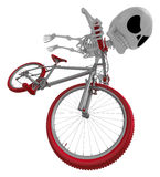 3D Skeleton Mascot is bikes do an acrobatic movement. 3D Skull C Royalty Free Stock Photo