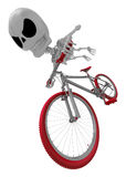 3D Skeleton Mascot is bikes do an acrobatic movement. 3D Skull C Royalty Free Stock Images