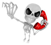 3D Skeleton Mascot is Calling a fit of anger. 3D Skull Character Stock Images
