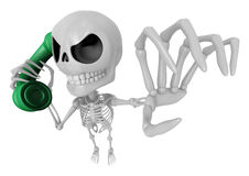 3D Skeleton Mascot is Calling a fit of anger. 3D Skull Character Stock Photo