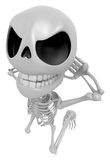 3D Skeleton Mascot is caught red-handed. 3D Skull Character Desi Royalty Free Stock Photography