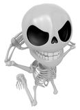 3D Skeleton Mascot is caught red-handed. 3D Skull Character Desi Royalty Free Stock Photos